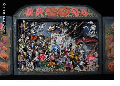 Party in the Cemetery - Day of the Dead Retablo (Version 14)