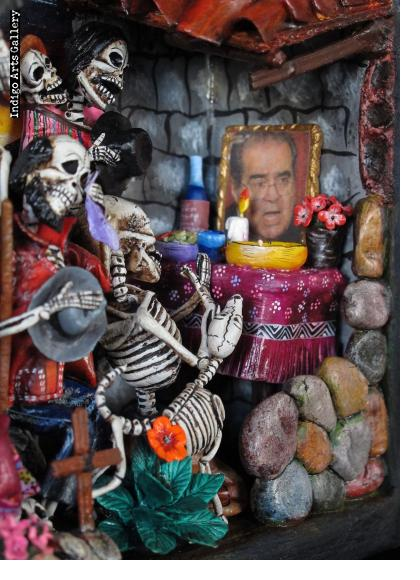 Party in the Cemetery - Day of the Dead Retablo (Version 16).  Justice Scalia RIP.