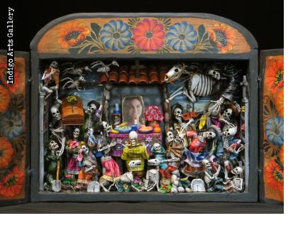 Party in the Cemetery - Day of the Dead Retablo (Version 17)
