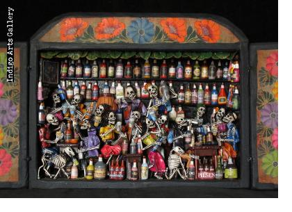 Cantina de los Muertos (Cantina of the Dead) - Retablo (version 3)