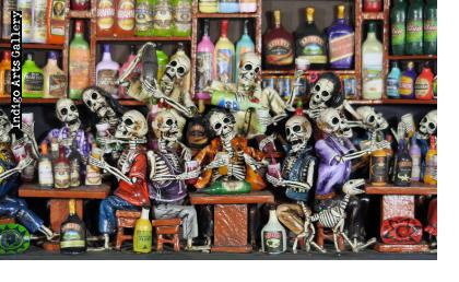 Cantina de los Muertos (Cantina of the Dead) Retablo (version 5)