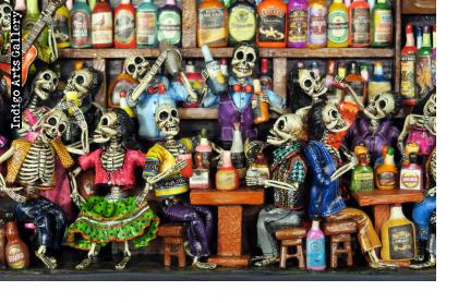 Cantina de los Muertos (Cantina of the Dead) Retablo (version 7)