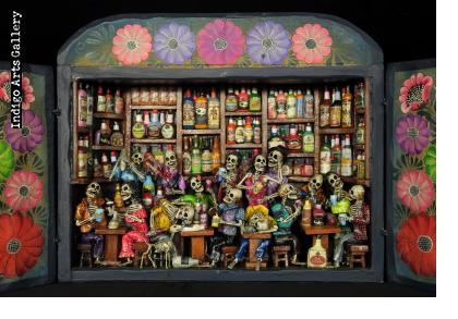 Cantina de los Muertos (Cantina of the Dead) Retablo (version 8)