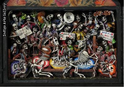 Rodeo de los Muertos (Rodeo of the Dead) Retablo (version 2)