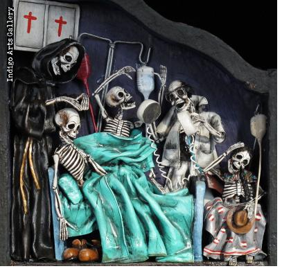 Dias de los Muertos (Days of the Dead) Scenes from the Cemetery - Retablo