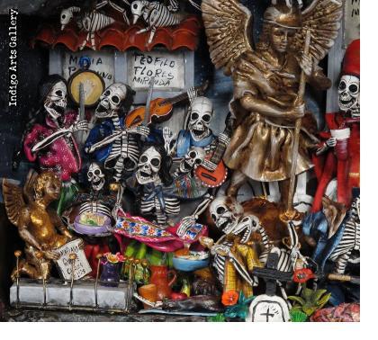 Dias de los Muertos (Days of the Dead) Scenes from the Cemetery - Retablo