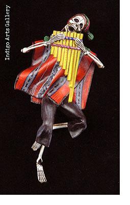 Skeleton Pan-Flautist - Retablo figure