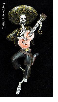 Calavera with a Guitar- Retablo figure