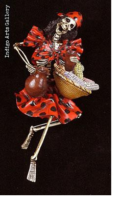 Calavera in a Polka-dot Dress - Retablo figure