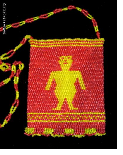 Yellow Man on Red - Beaded Bag