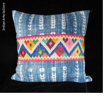 Vintage African Indigo and Peruvian Textile Pillow