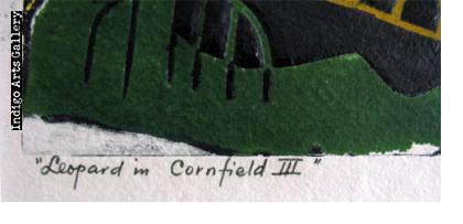 Leopard in a Cornfield III (yellow/green)