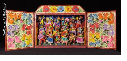 Masked Carnaval Musicians (Fiesta) - Retablo