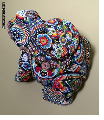 Frog with Coiled Snake - Huichol Beaded Sculpture
