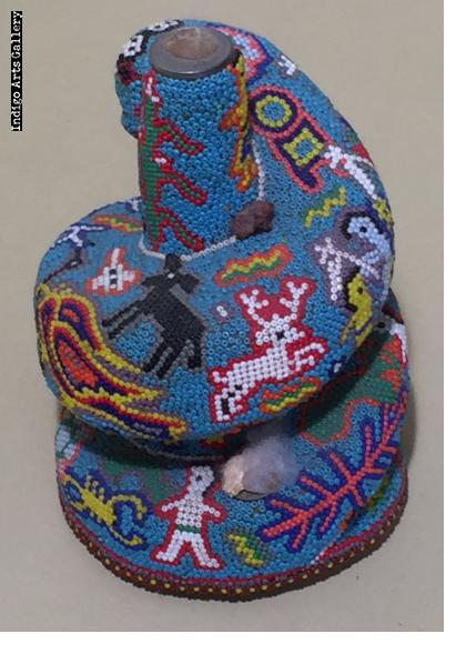 Coiled Snake - Huichol Beaded Sculpture by Luis Ruiz