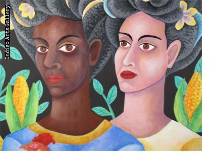 Mujeres con Gallo y Flores