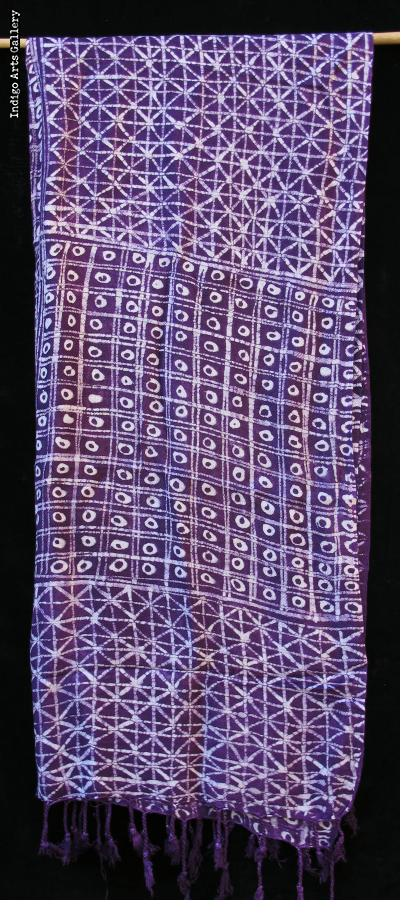Batik Shawl on Rayon by Gasali Adeyemo