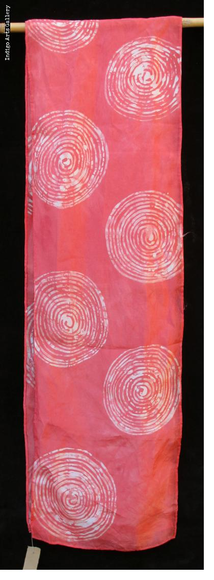 Batik Scarf on Silk by Gasali Adeyemo