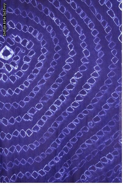 Indigo Tie-dye Scarf on Rayon by Gasali Adeyemo
