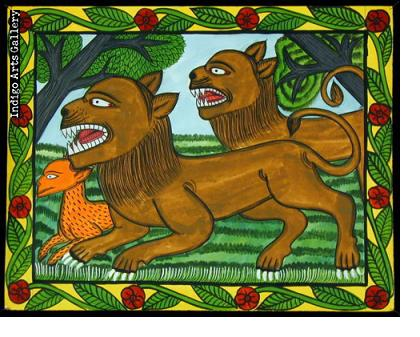 Two Lions and Antelope