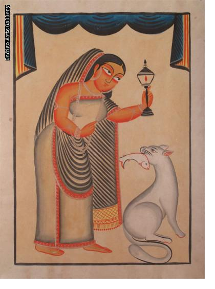 Kalighat Woman with Cat