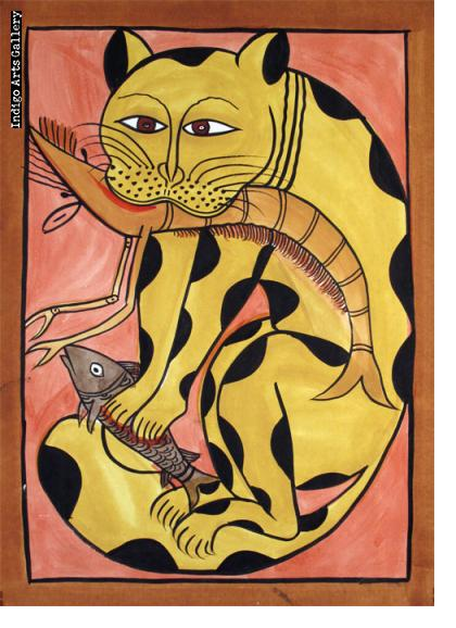 Kalighat Cat with Shrimp and Fish