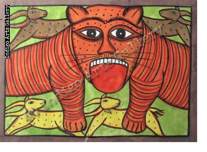 Orange Tiger with Four Antelopes