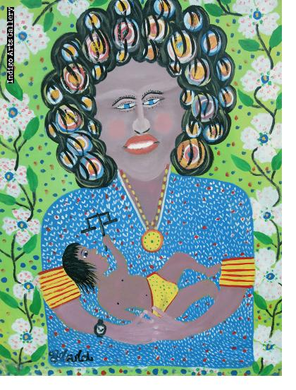 Woman with Curls Holding Child