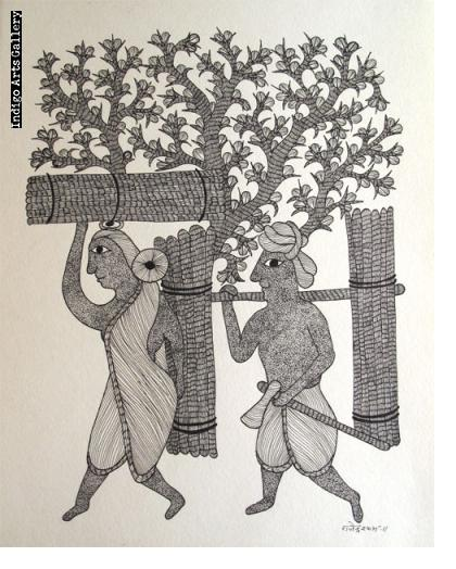 Gond Painting #5 - Wood-Cutters in the Forest