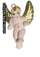 Painted pink clay tiny angel