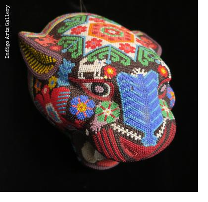 Medium Jaguar Head/Mask - Huichol Beaded Sculpture