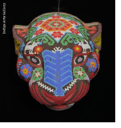 Medium Jaguar Head/Mask - Huichol Beaded Sculpture