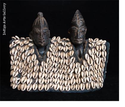 Ibeji Twin Figures with cowrie jacket