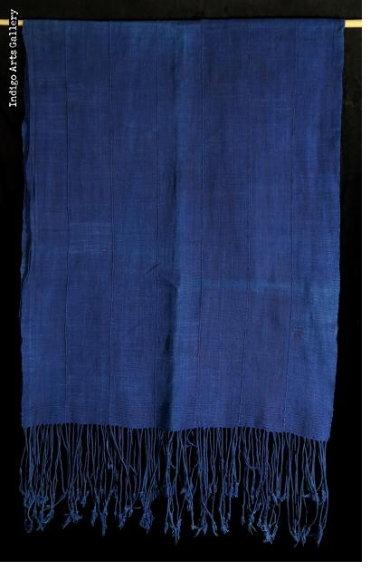 Indigo dyed strip-weave cotton cloth