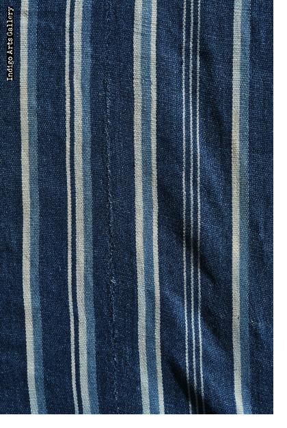 Indigo strip-weave cotton cloth
