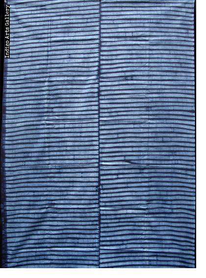 "Yoruba ""Adire Alabere"" Machine-stitch Resist Indigo-dyed Cotton Cloth"