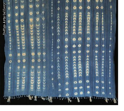 Indigo resist-dyed strip-weave cotton cloth with Lurex threads