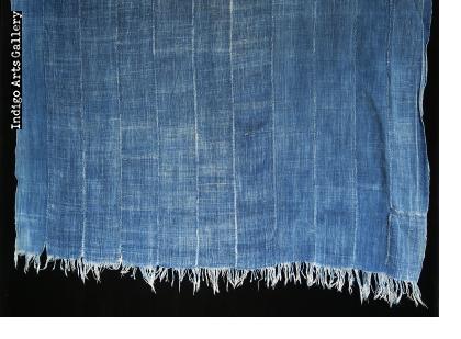 Indigo dyed strip-weave cotton cloth