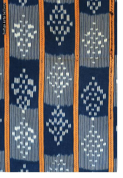 Baule Indigo ikat strip-weave cotton fabric