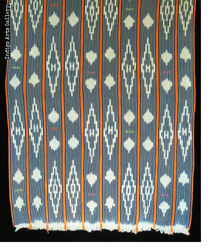 Baule ikat strip-weave cotton fabric