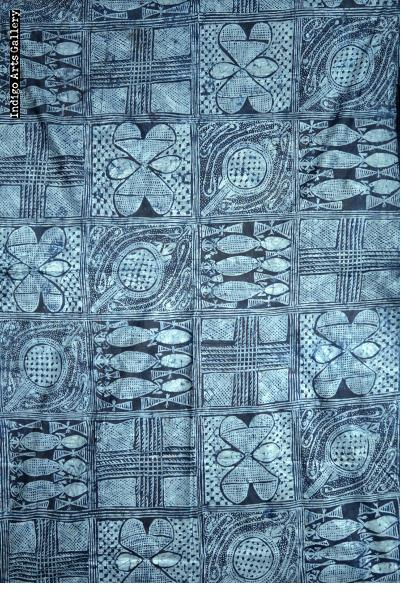 """Lizards"" Yoruba Indigo Resist-dye ""Adire Eleko"" Cloth"