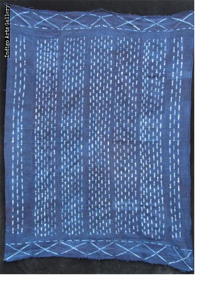 Dogon Indigo stitch resist-dyed strip-weave cloth