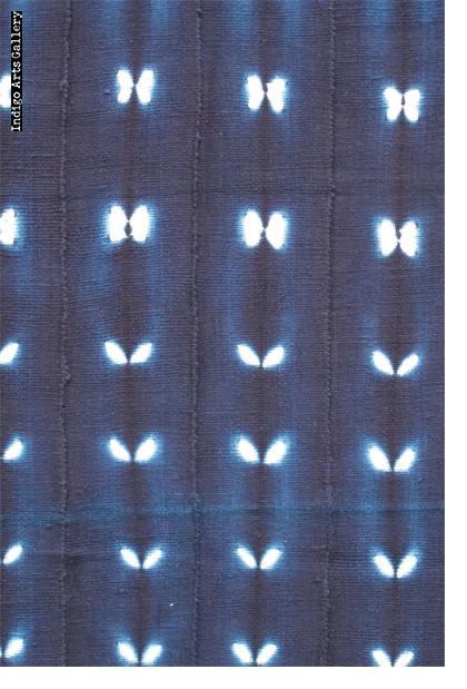 Bamana Indigo stitch-resist-dyed strip-weave cloth