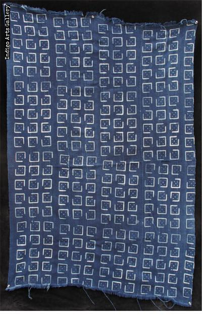Indigo stitch-resist-dyed strip-weave cloth