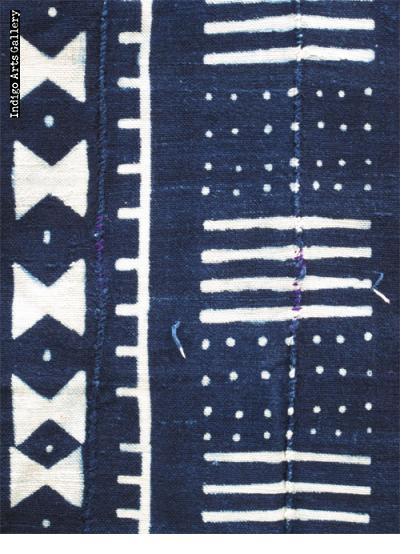 Indigo resist-dyed strip-weave cloth