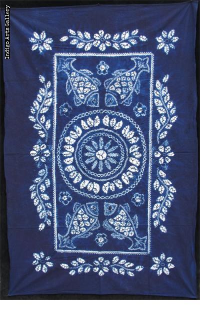 Indigo stitch-resist-dyed cotton cloth from Yunnan