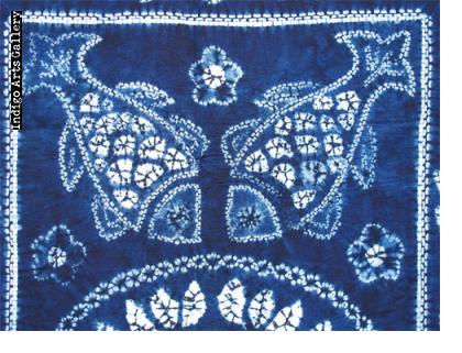 Indigo stitch-resist-dyed cotton cloth