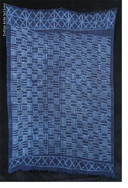 Indigo stitch-resist dyed strip-weave cloth
