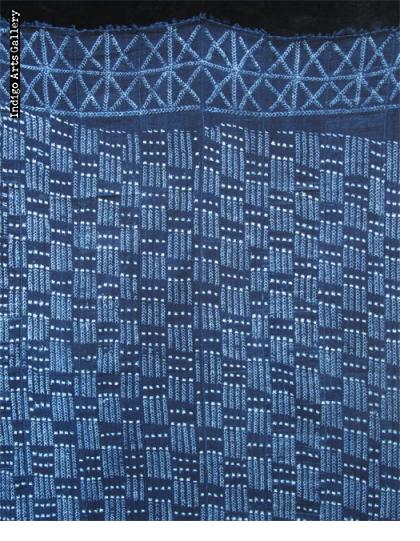 Indigo stitch-resist dyed strip-weave cloth