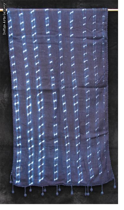 Indigo stitch-resist dyed light-weight cotton scarf